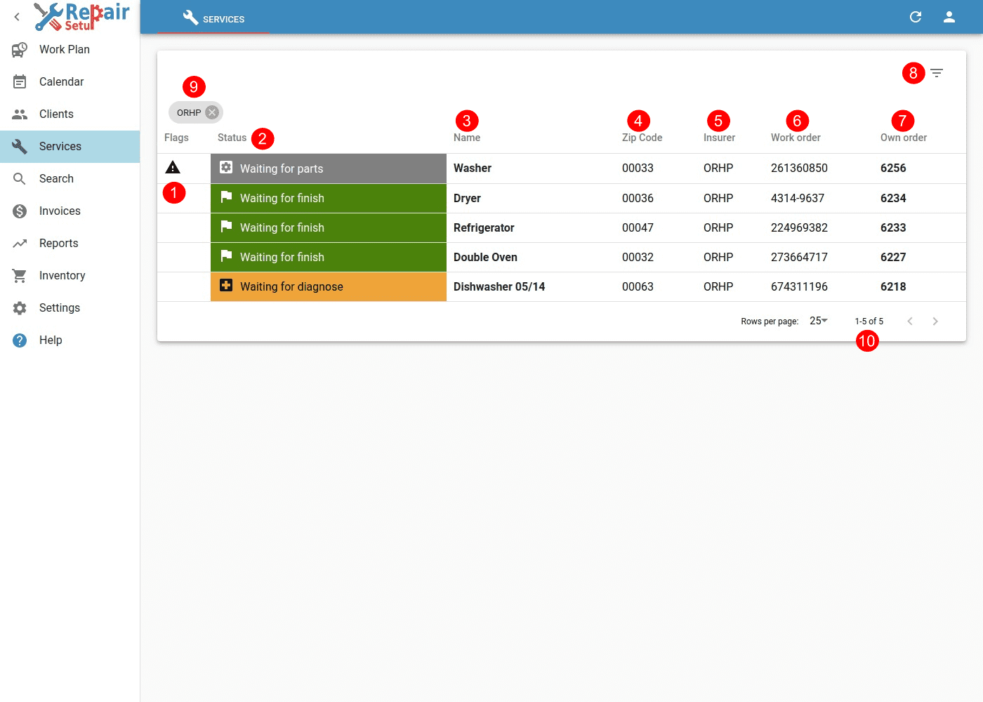 Services - Desktop view