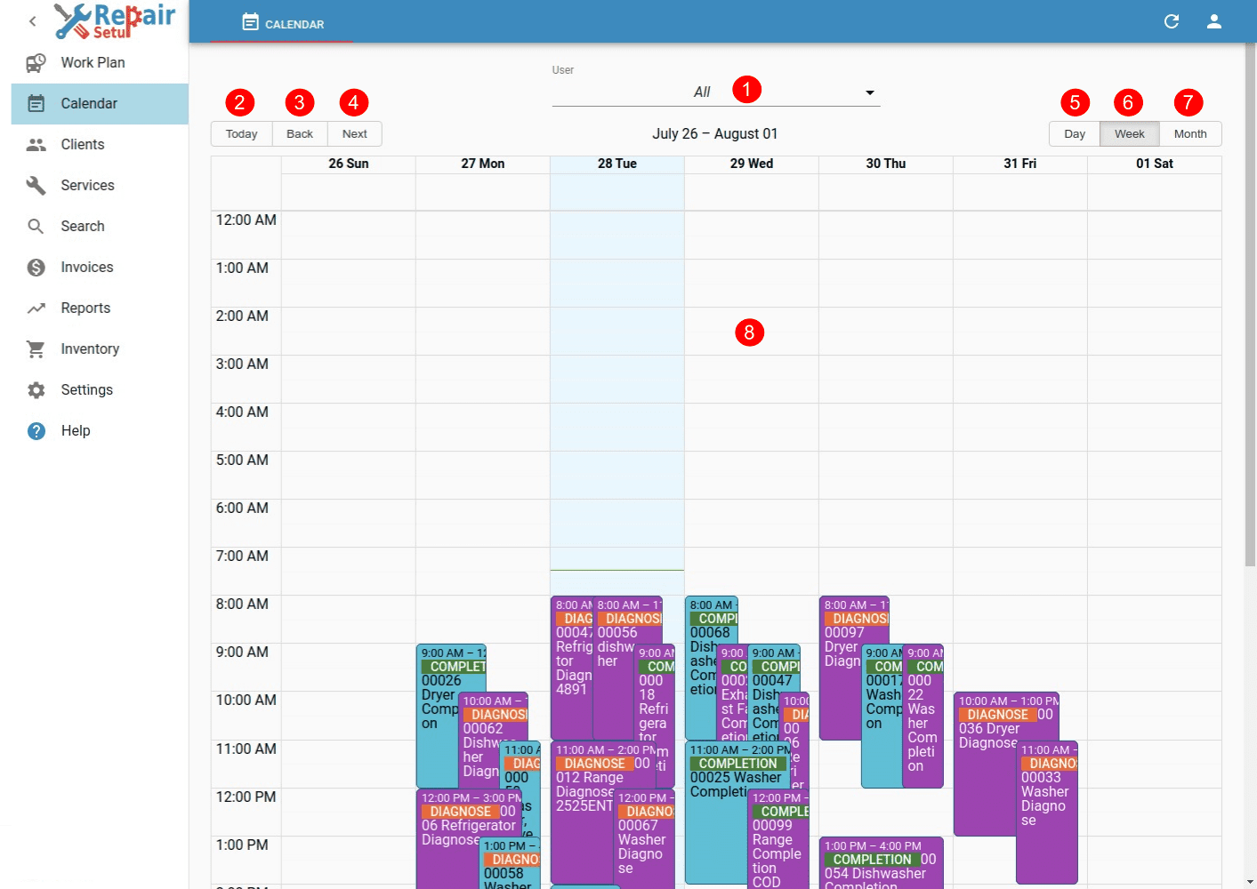Calendar - Desktop view