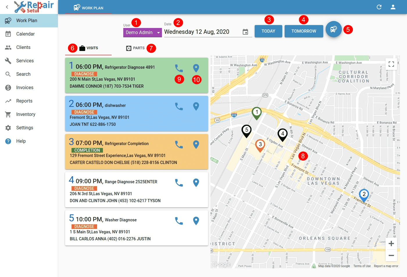 Workplan - Visits & Map view